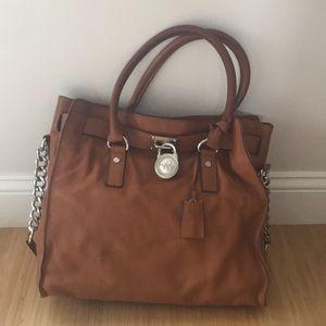Michael Kors brown leather and silver handbag